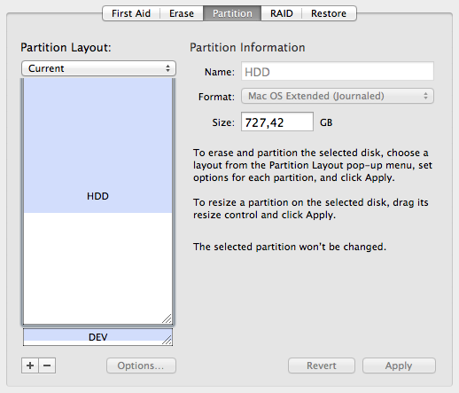 Disk Utility Neue Partition