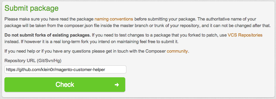 Packagist Submit Package