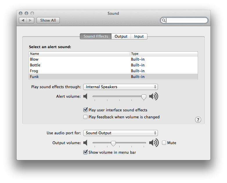 Sound Settings Mac OS X