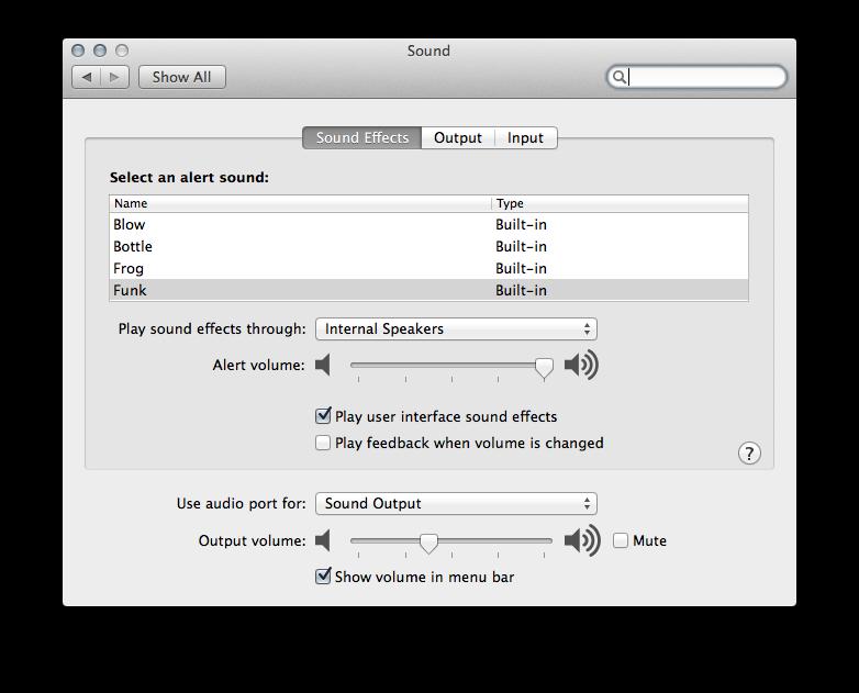 Sound Settings Mac OS X