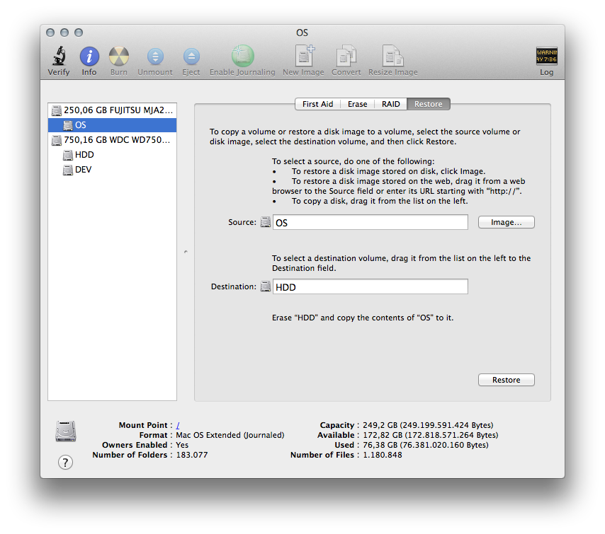 Disk Utility Recovery