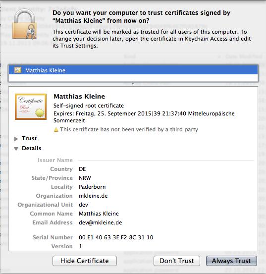 Keychain Certificate