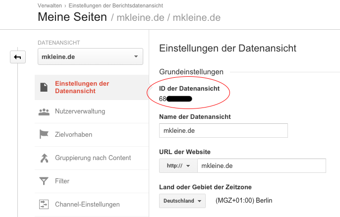GoogleAPI-Analytics-Datenansicht