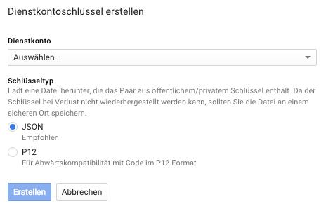 GoogleAPI-Dienstkontoschluessel